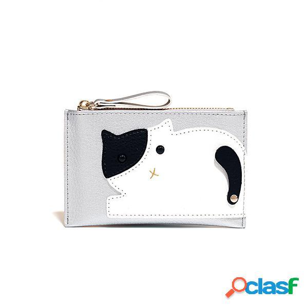 Carteira bonito do slot de cartão da bolsa 2 da moeda do gato dos desenhos animados do couro do falso das mulheres