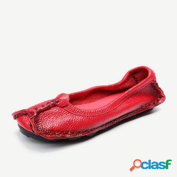 Feminino folkways ballet couro genuíno bean flats shoes