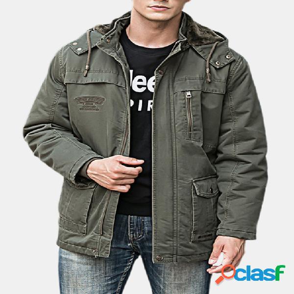 Forro removível de algodão quente engrossado de inverno masculino mutil bolsos com capuz parka