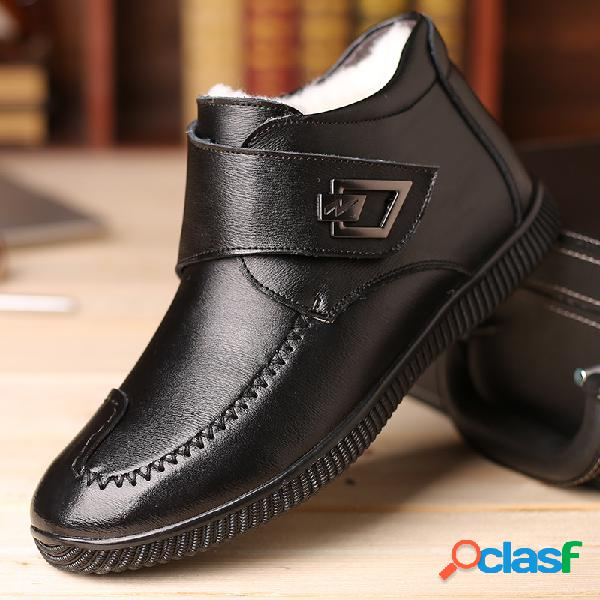 Men metal buckle forro quente gancho loop leather casual ankle boots