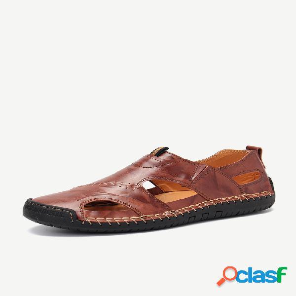 Tamanho grande masculino classic sandálias de couro com costura externa confortável soft