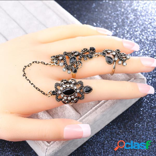 Anéis de flor estereoscópicos a céu aberto geométricos do vintage banhados a ouro strass anéis duplos ajustáveis