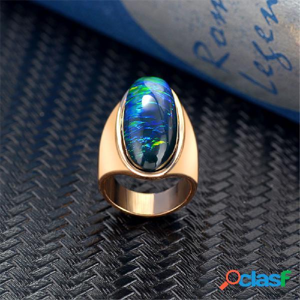 Banhado a ouro do vintage grandes anéis de pedras preciosas elipse geométrica anéis de dedo gradiente irregular