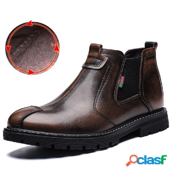Homens retro couro de vaca antiderrapante forro de pelúcia painéis elásticos botas casuais