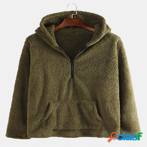 Mens winter double fleece warm manga comprida com capuz zipper fly hoodies moletons