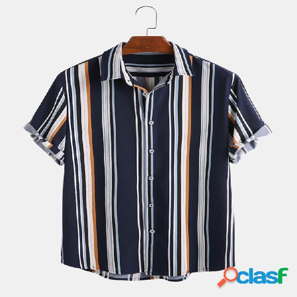Mens cool botão listrado de várias cores camisas de manga curta