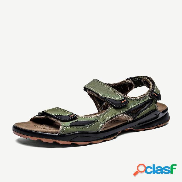 Homens gancho loop outdoor antiderrapante praia couro casual sandálias