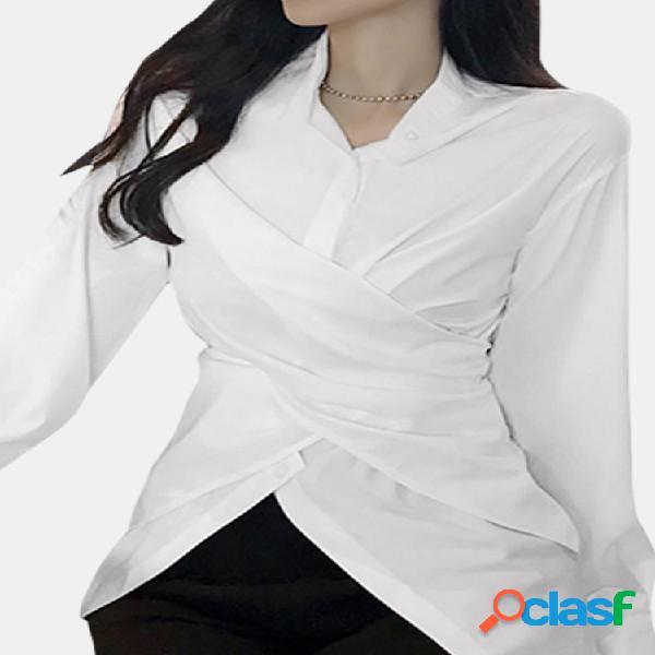 Lapela assimétrica cor sólida plus tamanho camisa