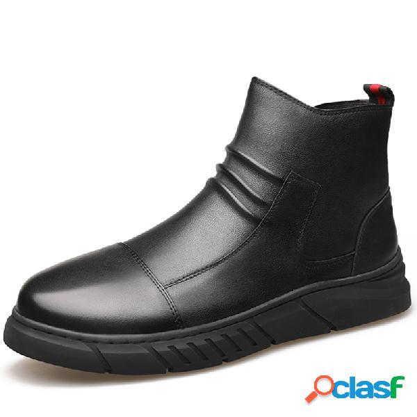 Men microfiber couro antiderrapante side zipper casual ankle boots