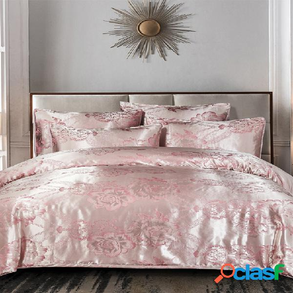 3 unidades rosa conjunto de roupa de cama de cetim floral quarto para casa soft fronhas com capa de edredão queen rei tamanho