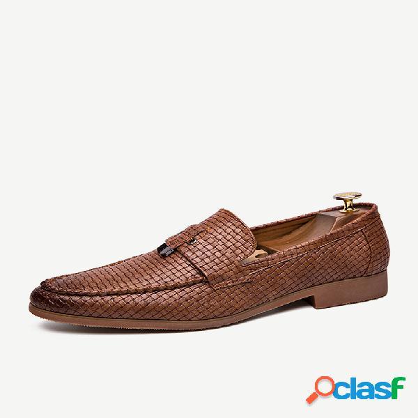 Couro de microfibra masculino tecido padrão calçado formal casual