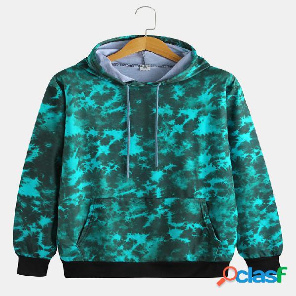 Mens canguru bolso resumo impressão água ripple manga comprida hoodies