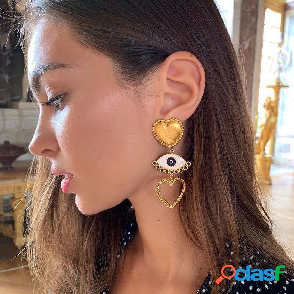 Vintage devil's eye brincos metal geometric hollow peach coração pingente brincos jóias elegantes