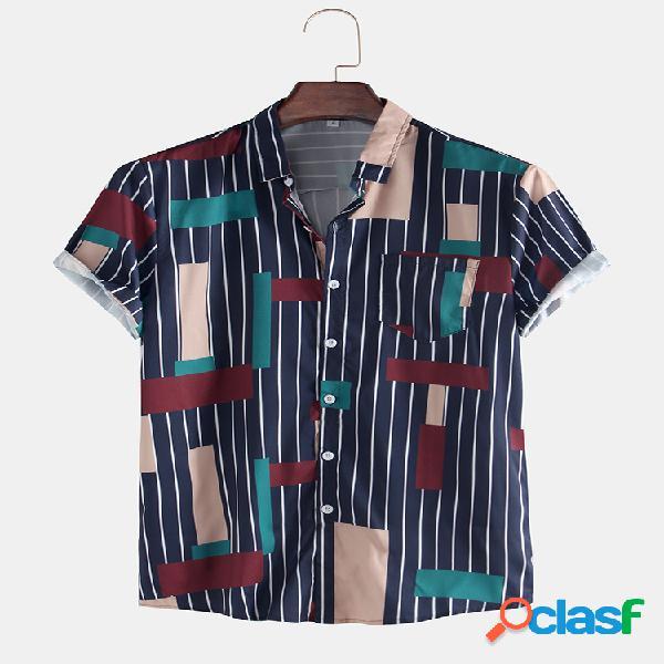 Camisas masculinas de manga curta com estampa listrada colorblock