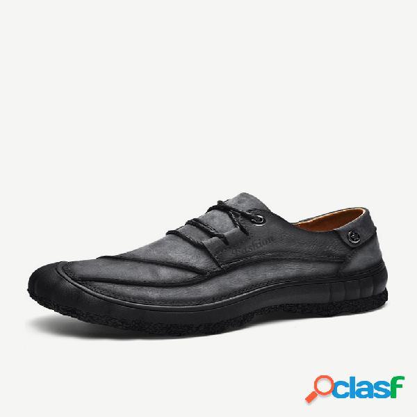 Masculino couro genuíno antiderrapante resistente ao desgaste anticolisão casual calçado exterior