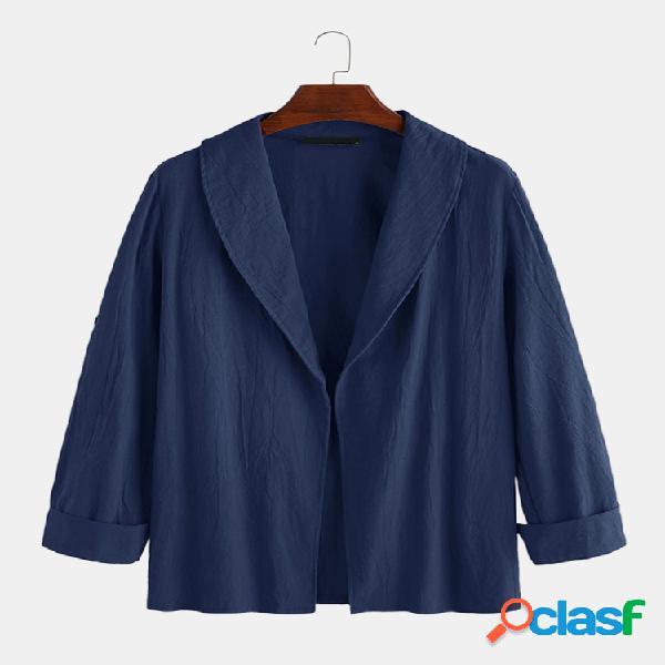 Mens estilo simples cor sólida conforto lapela jaquetas