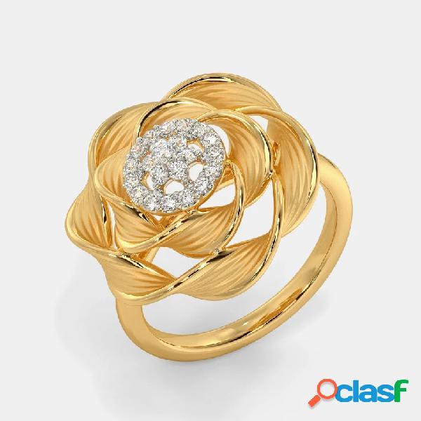 Temperamento do vintage anel de diamante de metal rosa anel de flor estereoscópico oco geométrico
