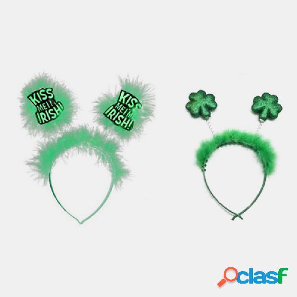 Dia de são patrício na moda clover feather headband trevo perolado geométrico cabelo acessórios