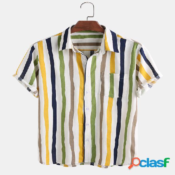 Linho masculino leve respirável cor listrada manga curta camisa