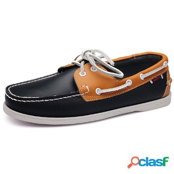 Homens classic couro genuíno deslizamento confortável em sapatos casuais de barco