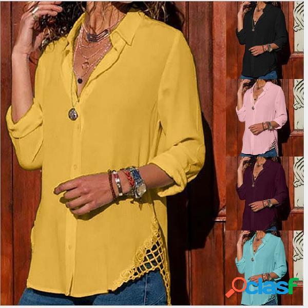 Lapela laço feminino manga comprida botão solto camisa