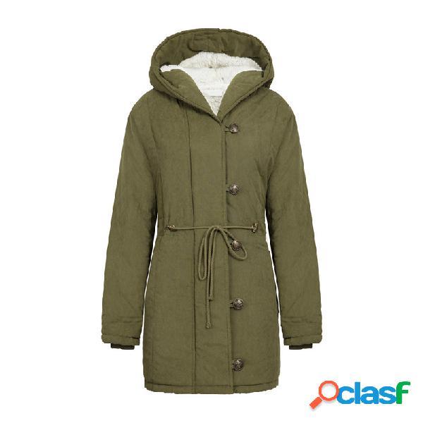 Algodão uma seção longa com capuz cordão cordeiro casaco de cintura de cashmere