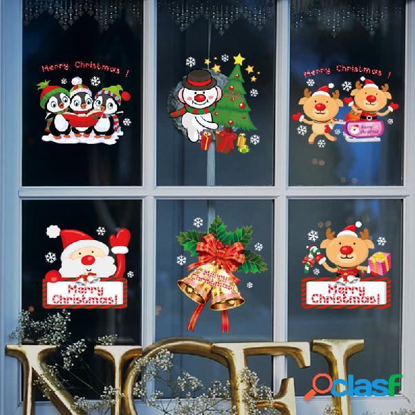 Miico sk9108 adesivo de natal janela dos desenhos animados pinguim padrão adesivos de parede removível para decoração de quarto