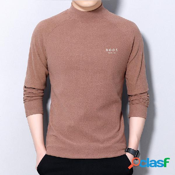 Camisola gola semi-alta cor sólida fundo casual camisa