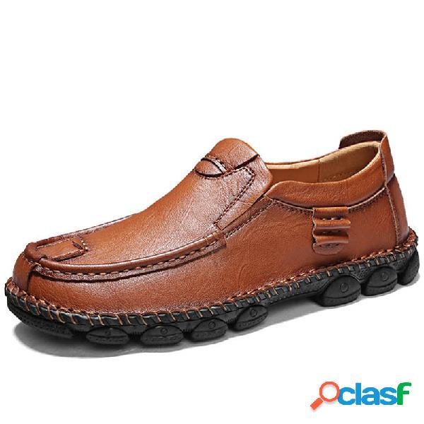 Homens mão costura couro de vaca antiderrapante deslizamento confortável em sapatos casuais