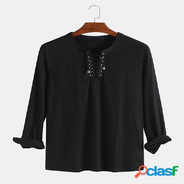 Homens plain lace up manga comprida baggy henley camisa