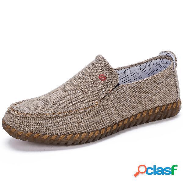 Mão de tecido de homens que costura antiderrapante deslizamento respirável em sapatos casuais