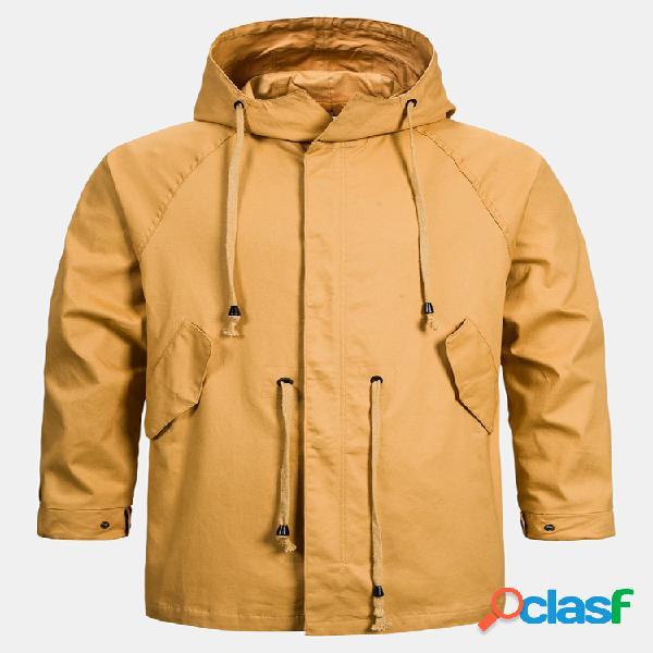 Mens algodão liso cor sólida cordão com capuz casacos à prova de vento