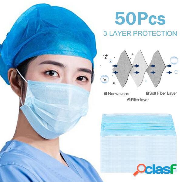 50pcs máscaras descartáveis 3 camadas de filtro não tecido bactérias máscaras conjunto