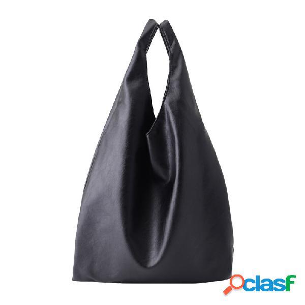 Mulheres grande capacidade simples soft ombro em couro bolsa