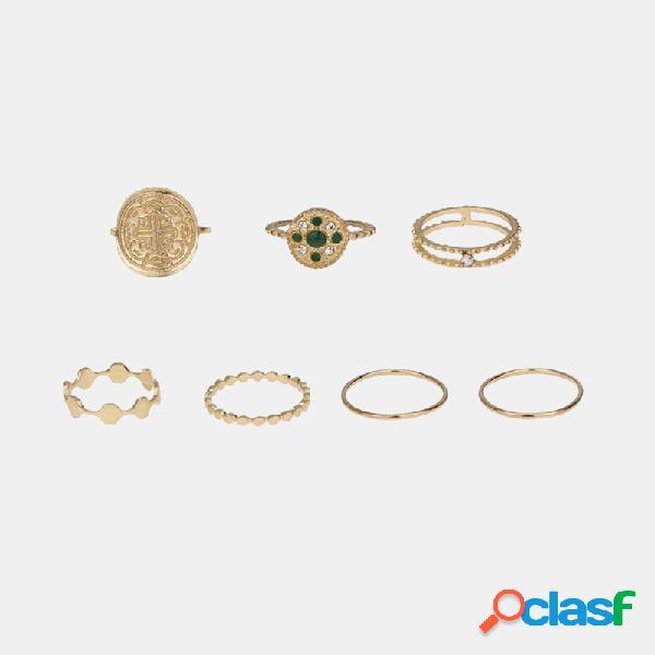 Conjunto de anéis de totem estereoscópicos geométricos de anel de diamante oco de metal vintage
