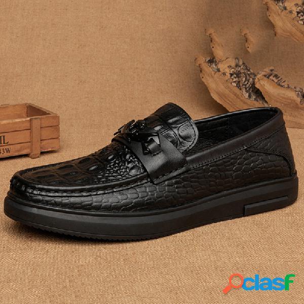 Homens couro genuíno antiderrapante crocodilo padrão deslizamento em sapatos casuais