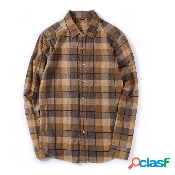 Lapela dos homens manga longa camisa algodão retro casual camisa manta masculina camisa outono novo