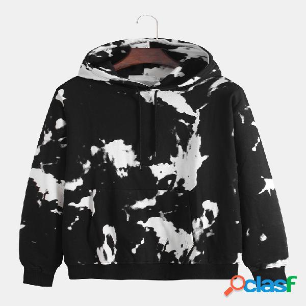 Mens algodão fresco graffiti contraste cor hoodies cordão