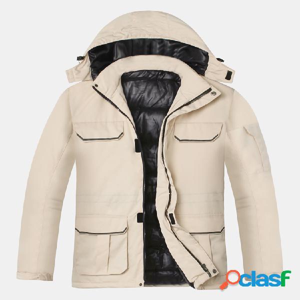 Mens plain engrossar algodão de pelúcia cor sólida meio longos casacos