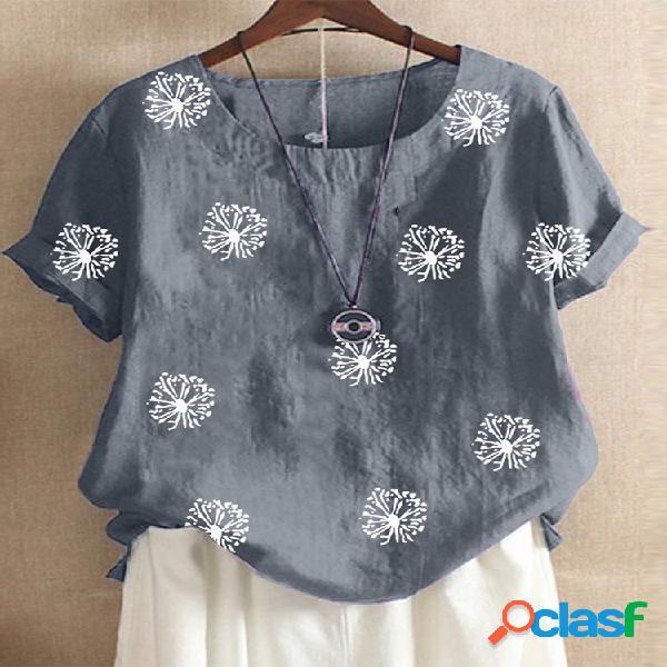 Camiseta de manga curta estampada floral com decote em o para mulheres
