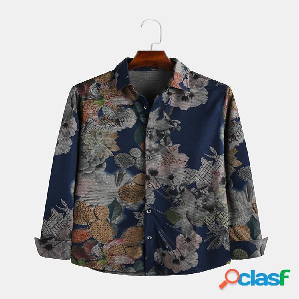 Colarinho dobrável masculino com estampa floral casual de alta qualidade de manga comprida camisa