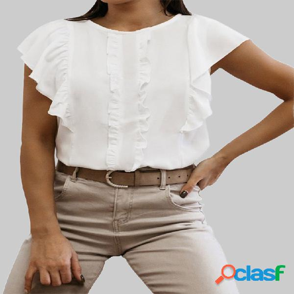 Blusa de patchwork de cor sólida com gola redonda casual para mulheres
