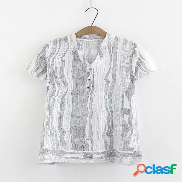 Gola listrada manga curta plus tamanho camiseta