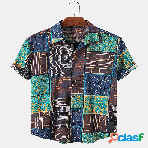 Camisas de manga curta leve respirável com estampas étnicas para homens
