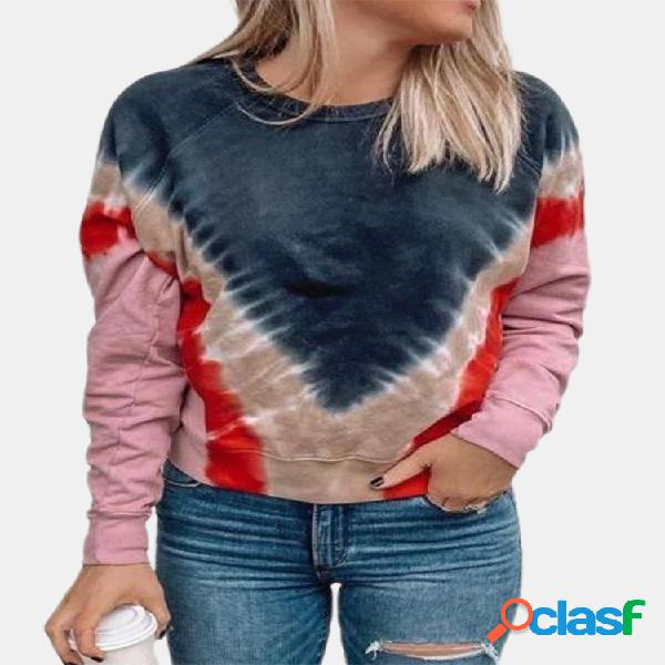 Impresso manga comprida o-neck sweater for women