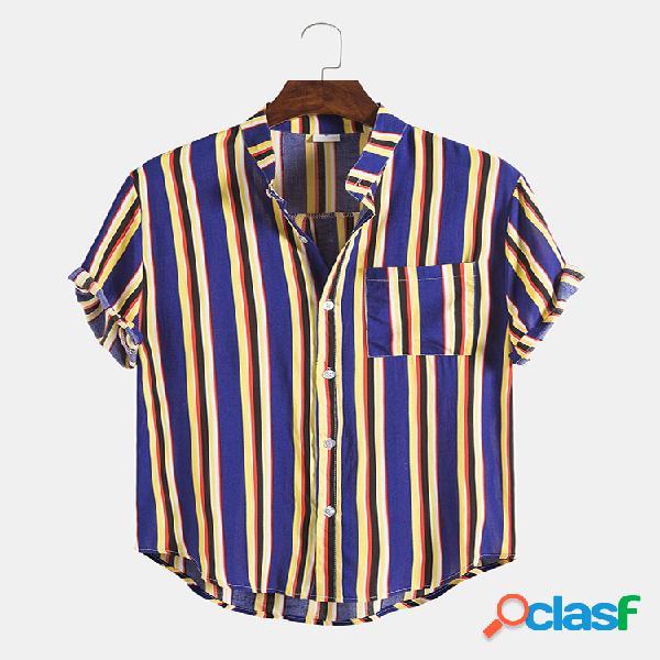Mens design listrado casual hit color round hem camisas de manga curta