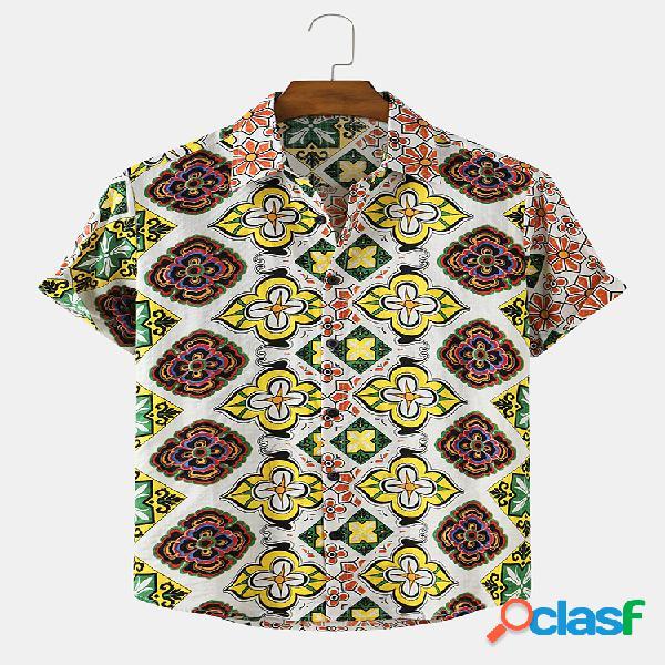 Mens étnico floral estampa casual respirável e fina camisas de manga curta