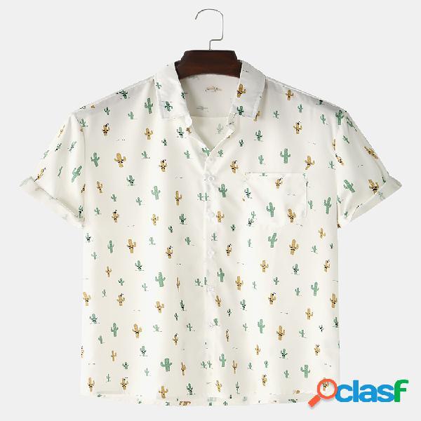 Mens small cactus print loose light chest pocket camisas de manga curta