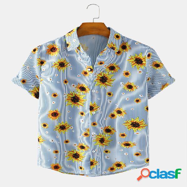 Mens sunflower & stripe print casual light camisas de verão de manga curta