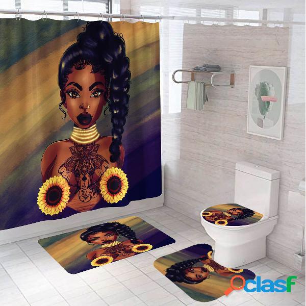 Meninas africanas impressão banheiro conjunto de cortina de chuveiro tapete de tampa de banheiro banheiro kit tapete antiderrapante